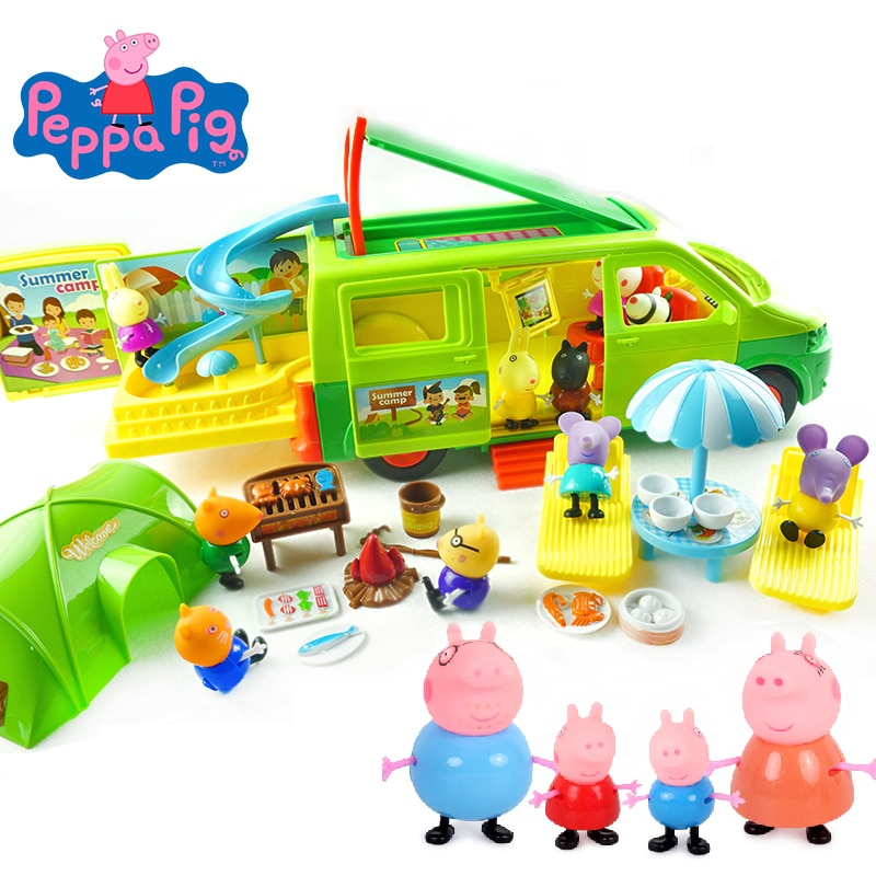 Peppa Pig George, juguete de personaje de acción, vida familiar en casa, paquete de Picnic, carrito de mariscos, juguete de simulación, juguete para regalo para niños