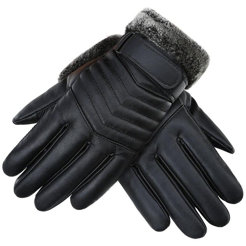 Новые зимние мужские теплые кожаные перчатки очень теплые флисовые мужские перчатки для спорта на открытом воздухе мотоциклетные перчатки...