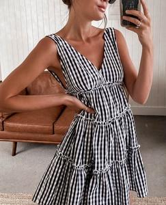Plaid Dress Girls Summer Chic Tank Sleeveless V Neck A-Line Ruffles Print Short Dress Fashion Casual Party Female Vestidos 2021