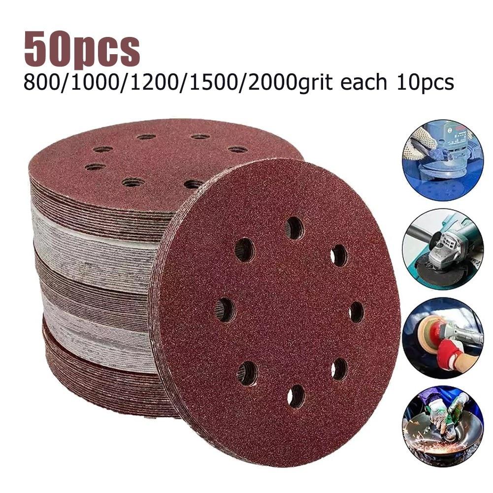 50 шт., 5 дюймов, 8 отверстий, шлифовальная бумага,-Грит, орбитальные шлифовальные диски с крючком, Накладка для шлифовальных принадлежностей