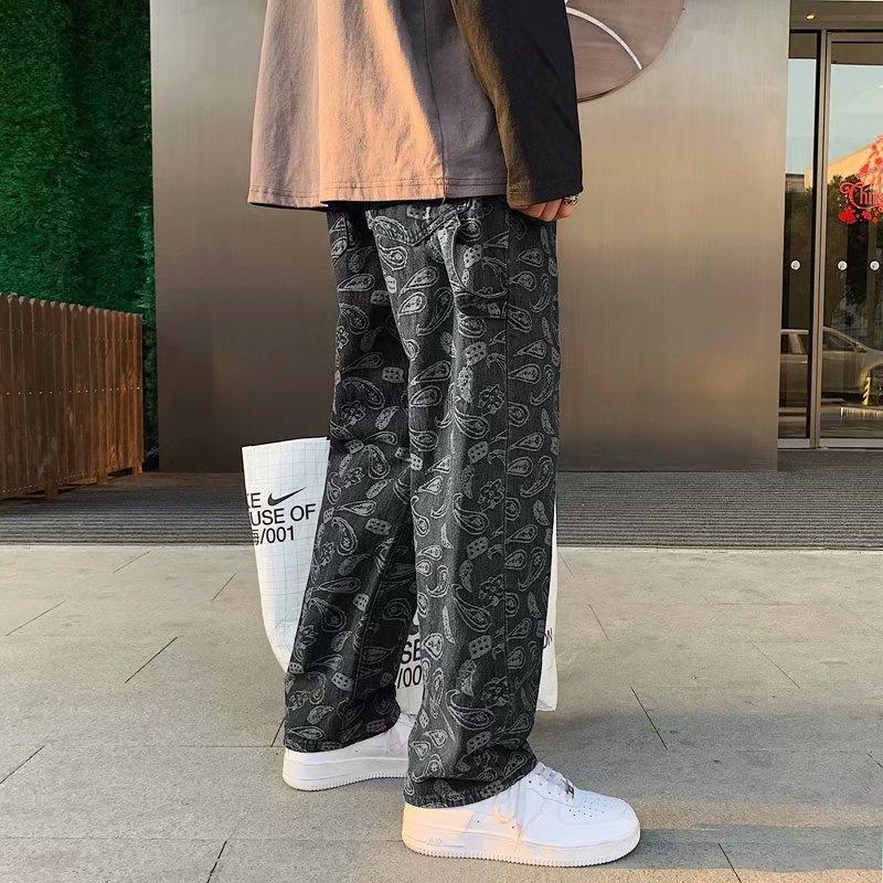 Черные джинсы с цветком кешью, мужские прямые свободные брюки-трубы, весна-осень, лето, корейская мода, мужские мешковатые брюки, джинсовые б...