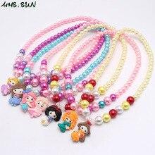 MHS. SONNE Mode Bunte Mädchen Kinder Perlen Chunky Halskette Set Adroable Prinzessin Anhänger Perlen Halskette Schmuck-Set Für Party