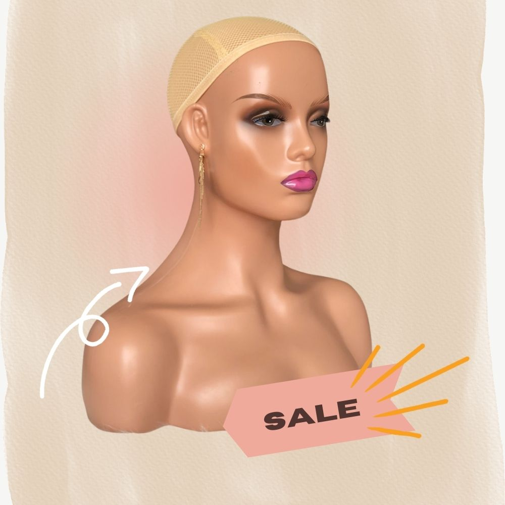 18in Manikins Head Mannequin Head With Shoulders Realistic Mannequin Head for Display Manikin Head with Shoulder for Wig
