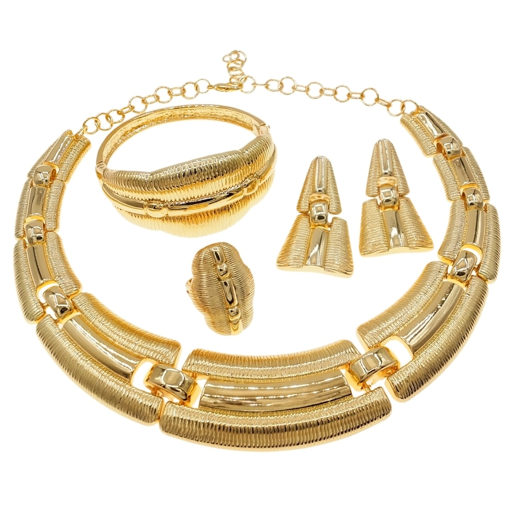 Get Latest Luxury Italian Gold Jewelry Set Brazilian Gold Wedding Big Jewelry Sets Woman Party Necklace Jewellery Set H0003
