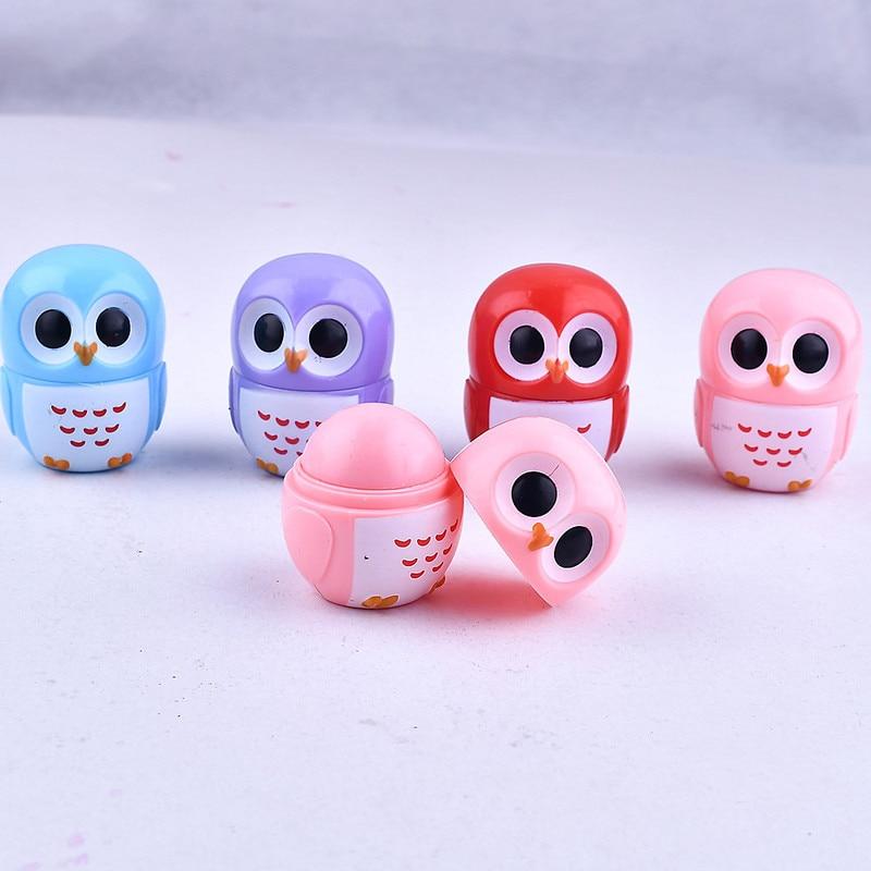 1Pc Natural Aloe Lip Balm Candy Color Owl Moisturizing Natural Sphere Lip Gloss Healthy Fruit Embellish Lipstick Makeup Tool