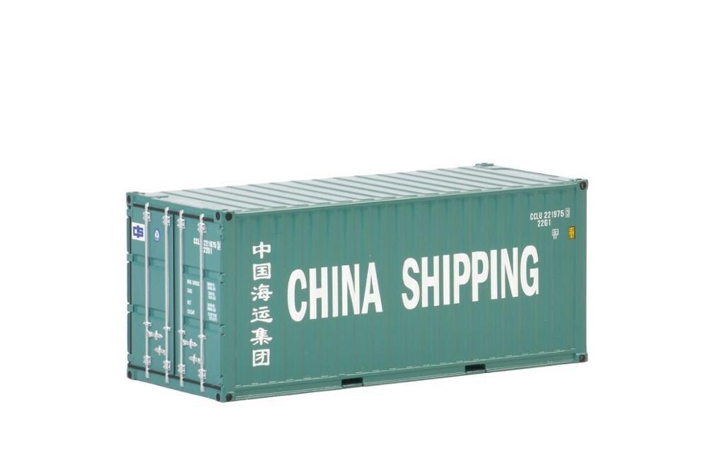 Colecionável Diecast Toy Modelo WSI 150 Escala China Grátis 20 FT Caminhão, Modelo de Contêiner de Transporte Para O Presente Do Negócio, decoração