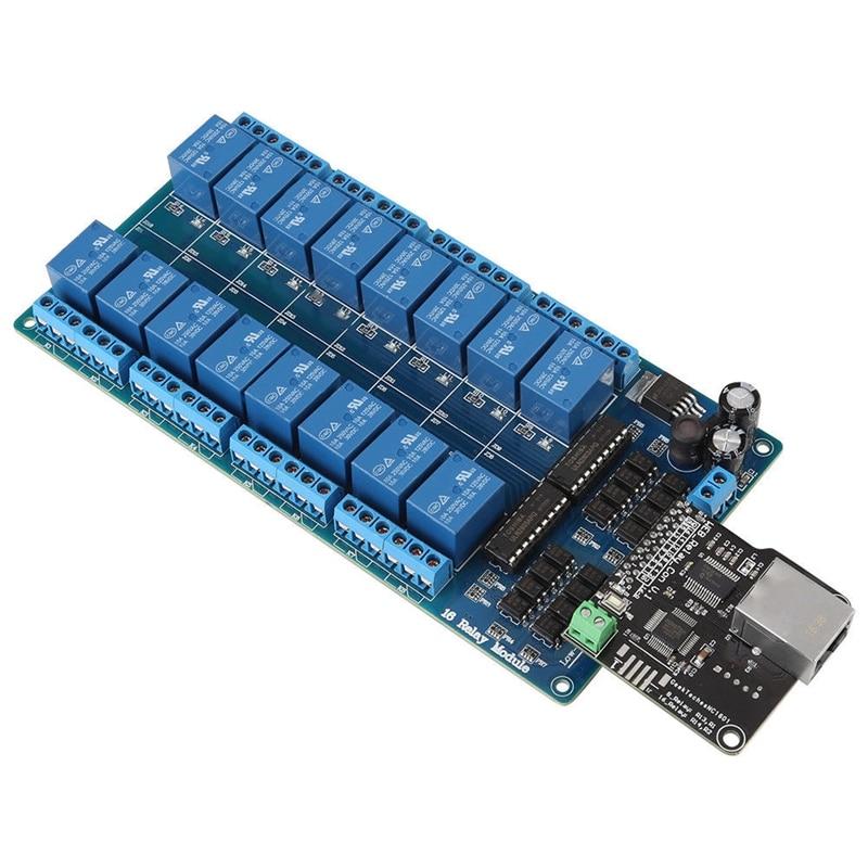 Módulo de Control Ethernet ABSF servidor Web de red Lan Wan RJ45 Puerto relé de 16 canales es placa controladora Ethernet. Interfaz RJ45