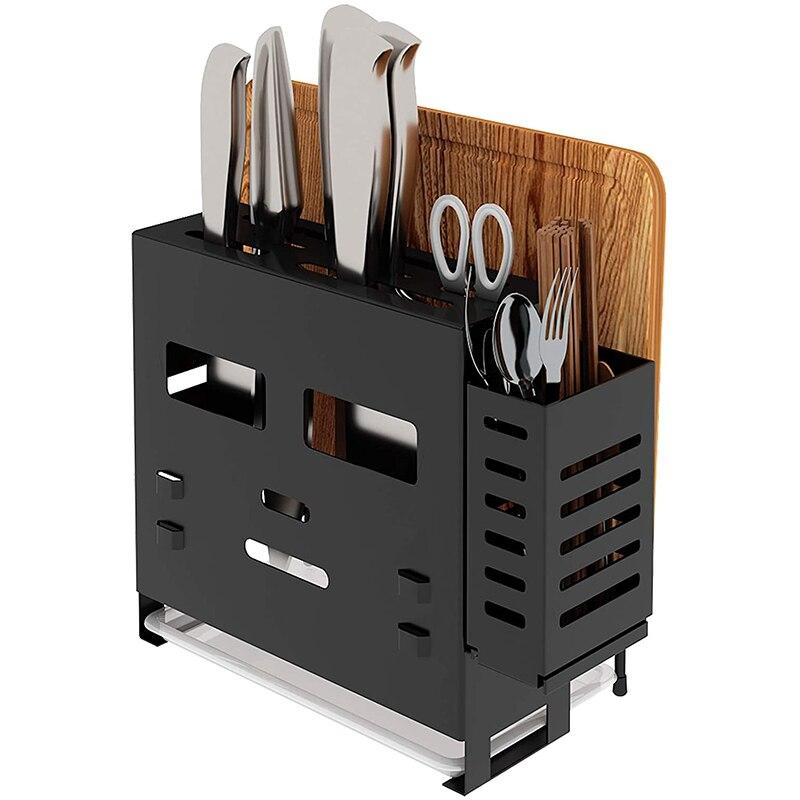 حامل سكاكين 4 في 1 ، منظم لوح تقطيع مع حامل حائط ، سكاكين ، شوك ، عيدان طعام ، ملاعق ، مطبخ