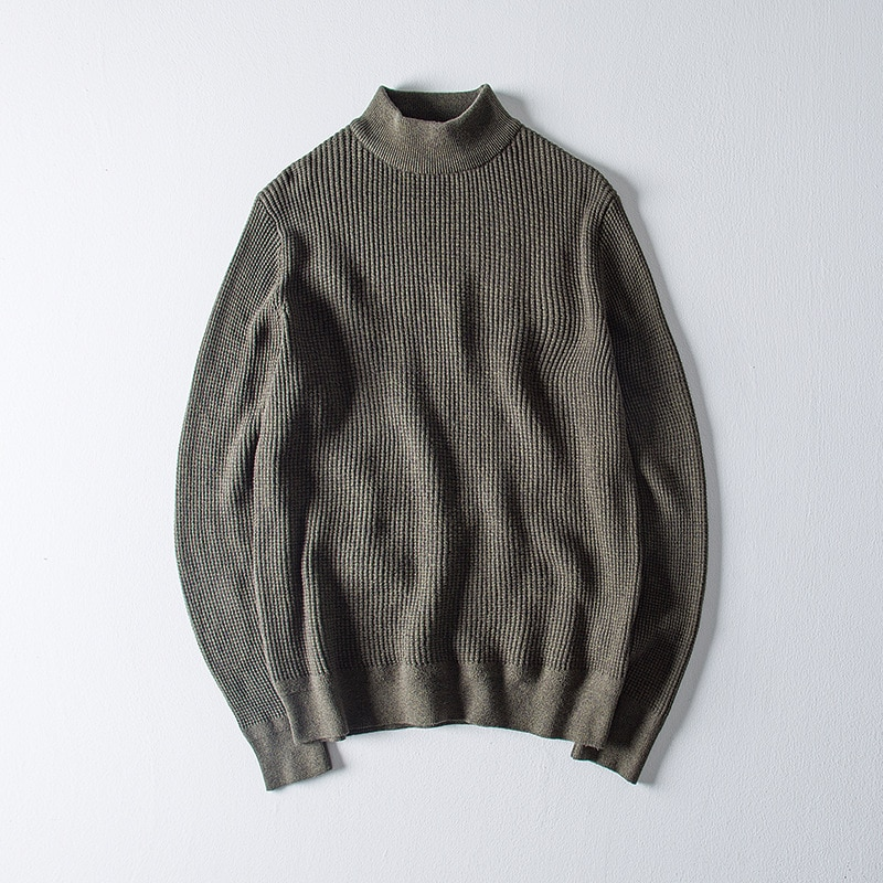 Winter Solid Color Men's Sweater Mock Neck Pullover Sweater Casual Sweater Long-Sleeved Sweater Pullover For Men Male Tops aliexpress crew neck linen flower color sweater men s pullover knitted sweater men s wear