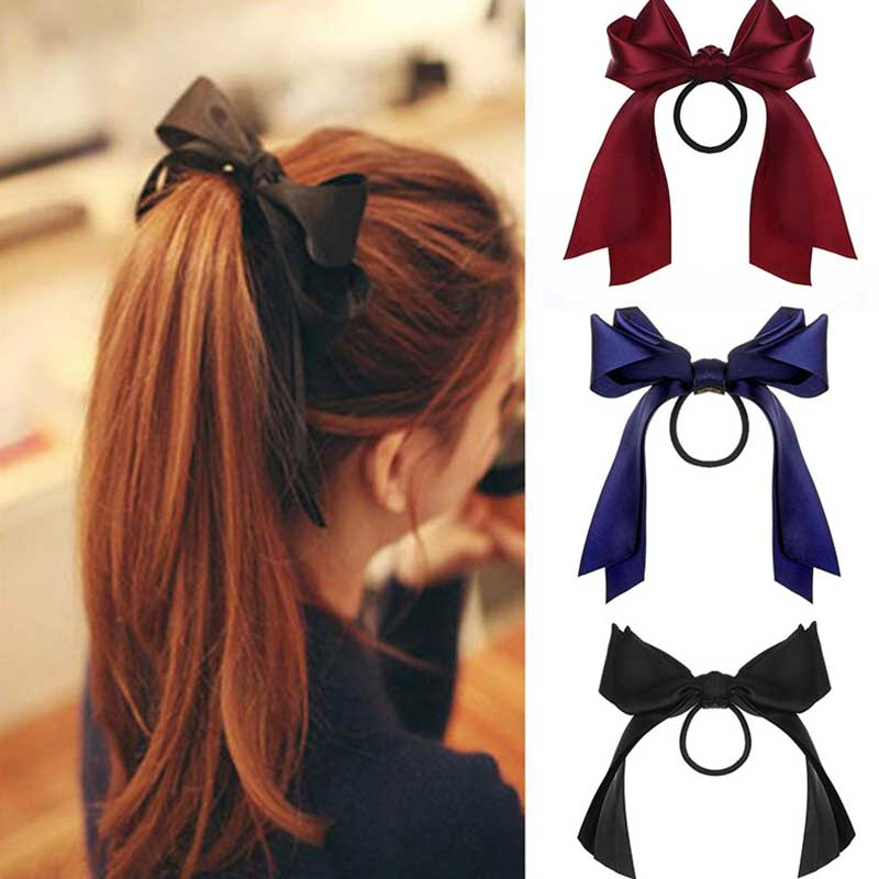 IFMIA Korean Bow-Knot Elastic Hair Bands Accessories Fashion Hair Band Long Ribbon Bow Ponytail Hair Tie Scrunchies Women Girls