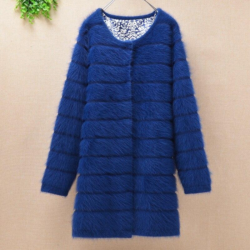 Parte superior mujer grueso cálido medio rayas largas angora conejo Piel de punto cardigan manga larga suéter visón abrigo de invierno de lana de Cachemira