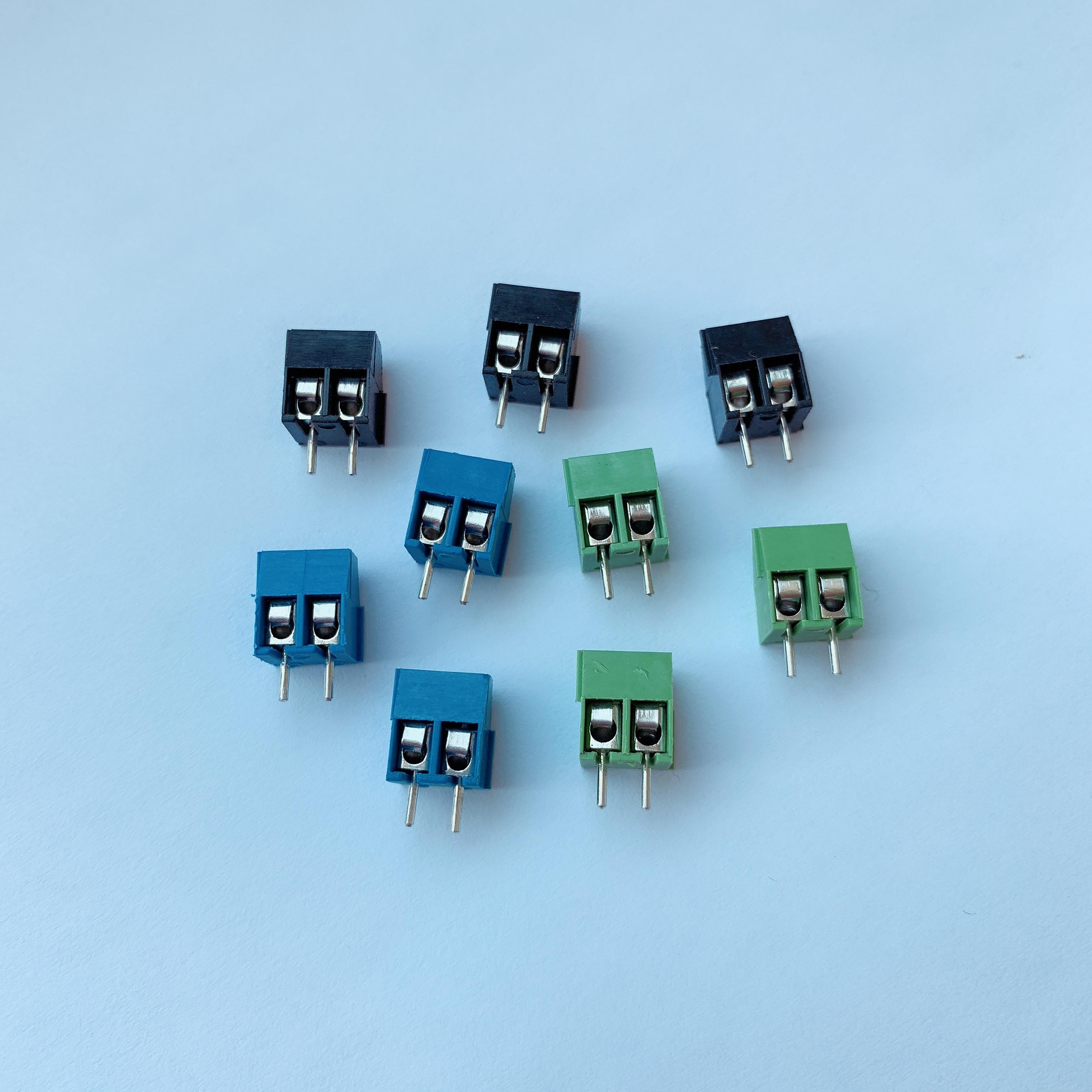 10pcs kf-350 3.5mm המגרש בורג מסוף מחבר 2p ישר רגל KF 350 נחושת ירוק כחול שחור PCB מסוף