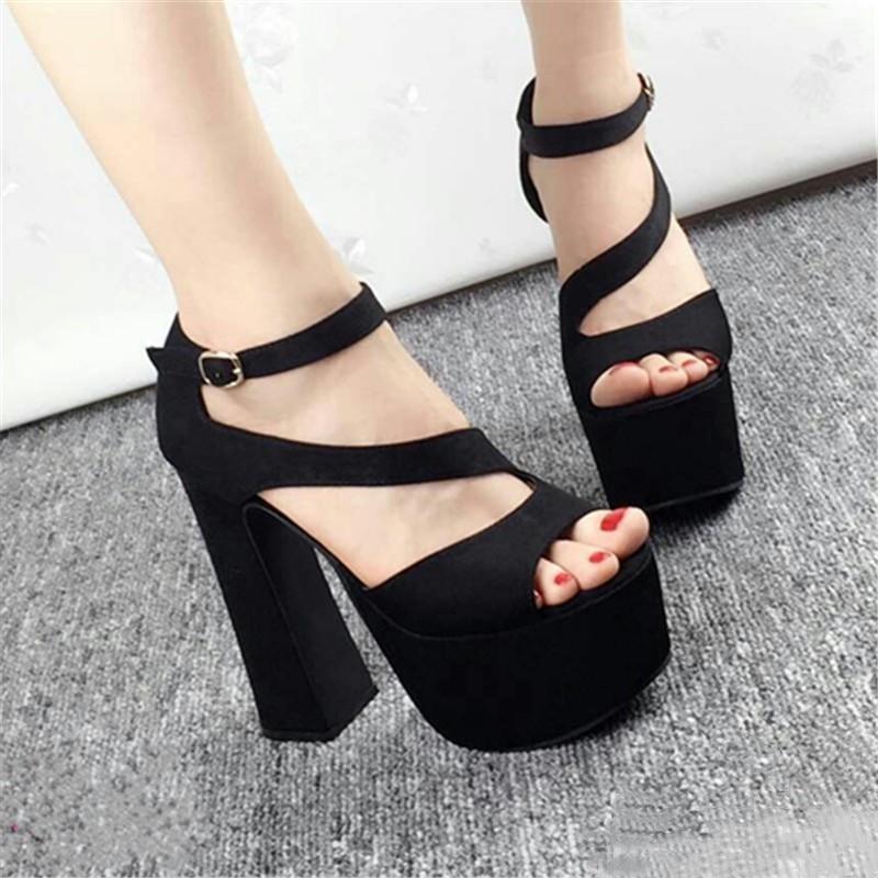 2018 summer new ultra high heel sandals 15 cm fish mouth waterproof platform Rome satin sexy nightclub shoes