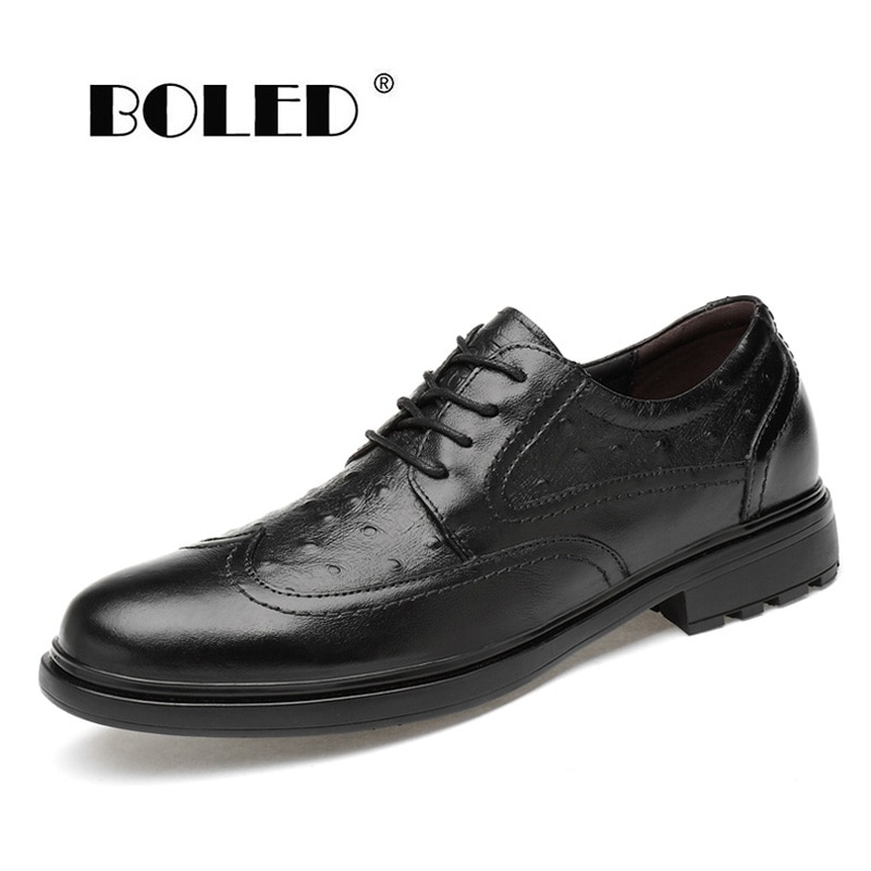 Top Quality Pointed Toe Oxford Shoes Genuine Leather Dress Classic Lace Up Hand-Painted Men Dropshipping