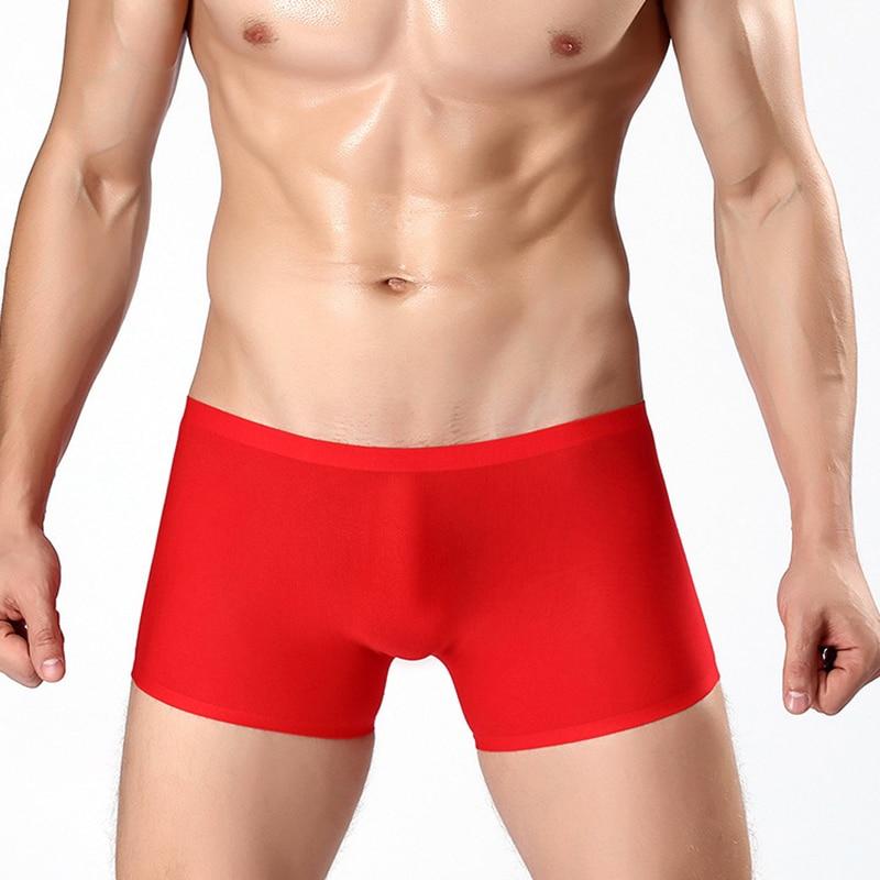 Распродажа, сексуальные мужские Бесшовные Боксеры с низкой талией, мужские трусы из ледяного шелка, Бесшовные дышащие мужские шорты