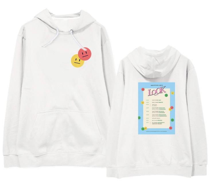 New arrival kpop apink new album look 3 styles printing pullover hoodies unisex fleece/thin loose sweatshirt 3 colors