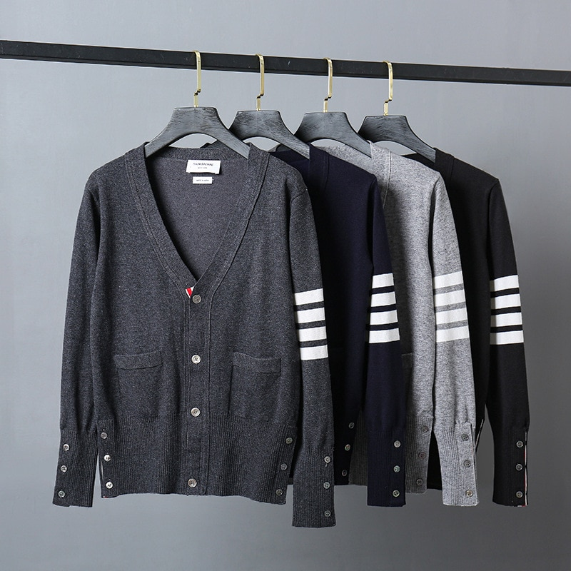 Fashion Brand TB Sweaters Men Slim Fit V-Neck Cardigans Clothing Striped Cotton Wool Spring and Autumn Casual Coat 2021