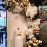 137pcs gold black silvery latex balloons garland arch wedding birthday decorations baby shower home decors balloon gold decor