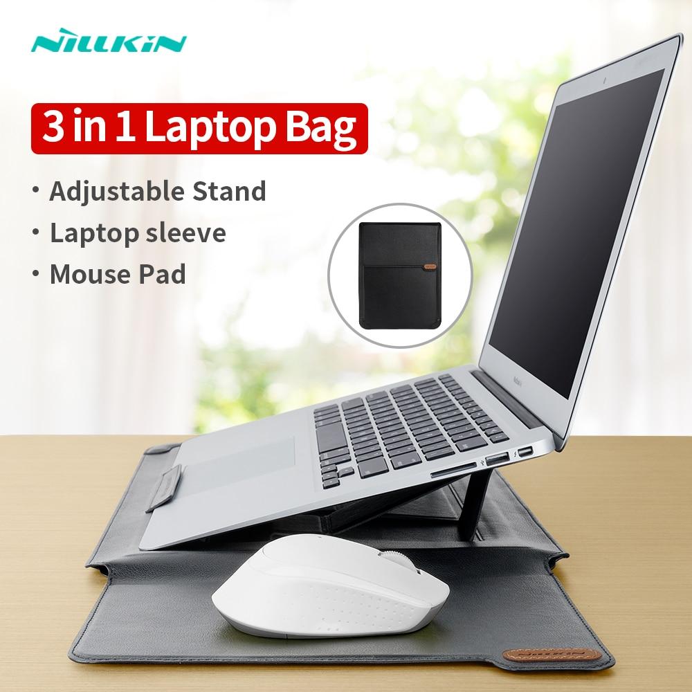 NILLKIN حقيبة كمبيوتر محمول بو الجلود كم حقيبة لماك بوك اير برو 13 15 16 متعددة الوظائف محمول حافظة لهاتف هواوي MateBook