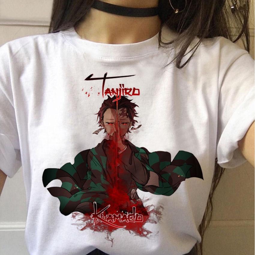 Camiseta femenina de Anime, demonios divertida camiseta de Mata, camiseta Punk Kimetsu No Yaiba, camisetas superiores de gráficos, ropa de calle