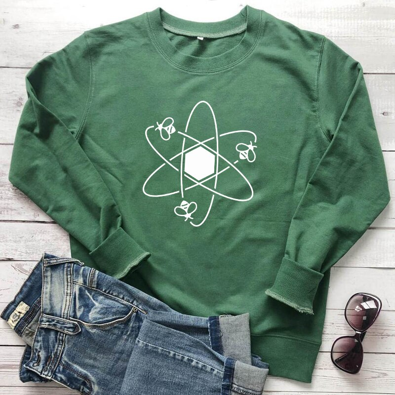 Science Bees 100% Cotton Sweatshirt Funny Honey Bee Print Sweatshirts Cute Unisex Long Sleeve Bee Keeper Graphic Pullovers