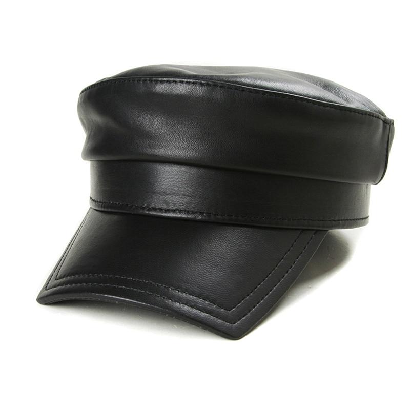 قبعات شتوية من الجلد الطبيعي الأسود للرجال والنساء ، قبعة عسكرية Gorras ، قبعة بغطاء من الجلد الطبيعي للنساء ، 2019