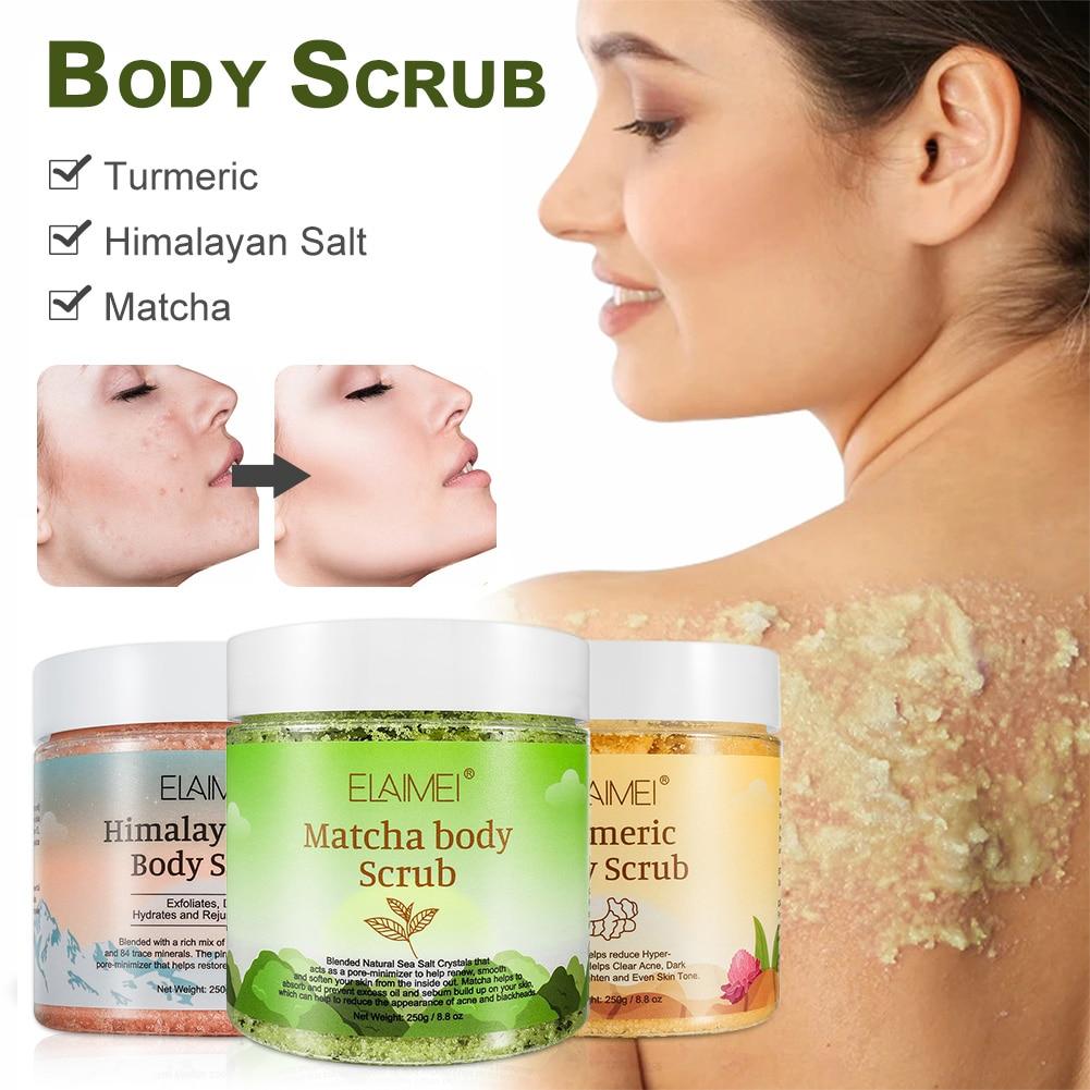 Body Scrub Himalayan Salt/Turmeric/Matcha Scrub to Moisturize and Exfoliate Skin Deep Cleansing Body Scrub for Women Shipping