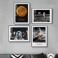 Affiche de mode dastronaute lune Mars  toile de lespace  peinture et imprimes  tableau dart mural pour salon  decoration de la maison