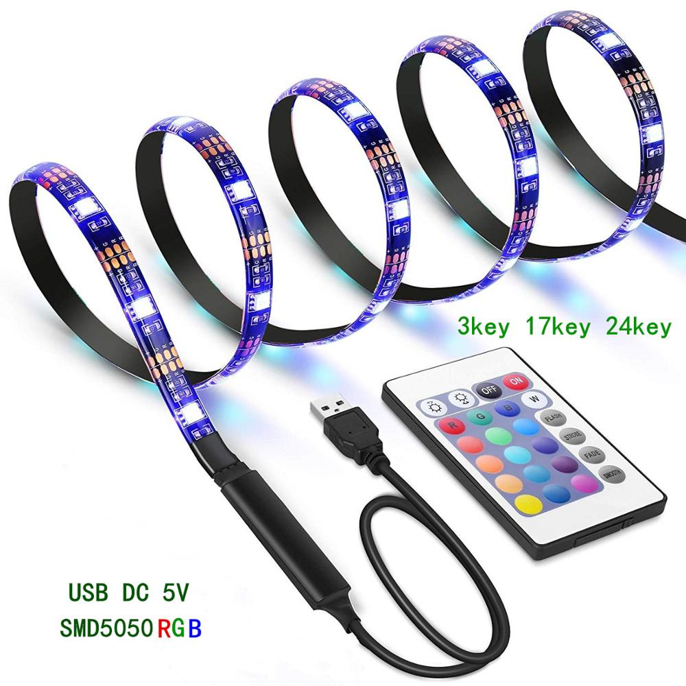 Tira de luces LED RGB BOLEDENGYE, 5V, puerto USB, 5050, impermeable, Flexible, cinta de tira LED para decoración de fondo de TV, 1M, 2M, 3M, 4M, 5M