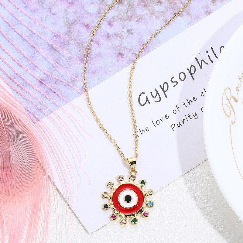 Celebridade on-line venda quente ornamento escarlate sun colar pulseira de sol vermelho charme pintura em óleos zircão micro pavimentar cruz borde