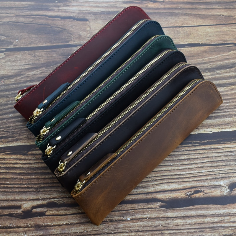 Genuine Leather Zipper Pencil Bag Vintage Retro Style Handmade Cowhide Pen Case Office School Stationery Storage Tools Gift