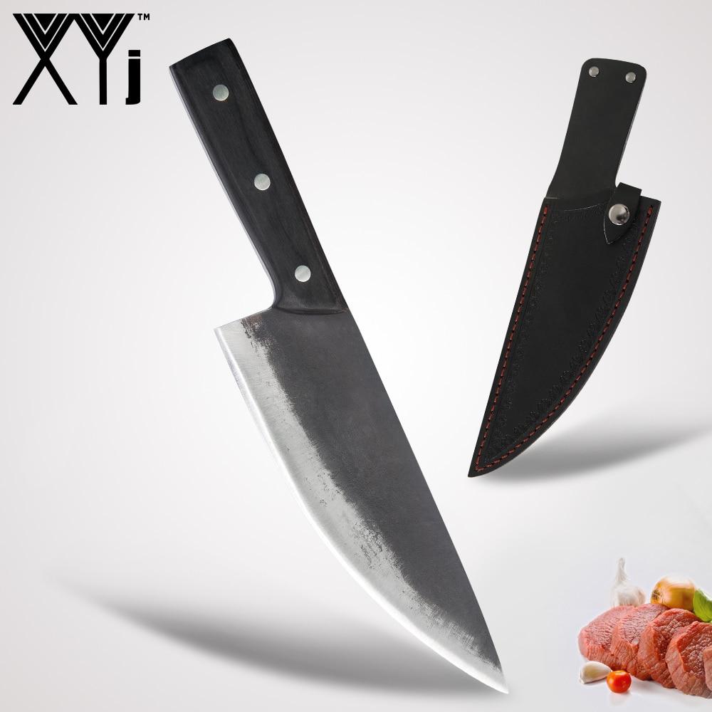 XYj hecho a mano completo Tang Camping Chef serbio forjado cuchillo de cocina en rodajas pesadas cuchillo de carnicero suministros funda de regalo gratis