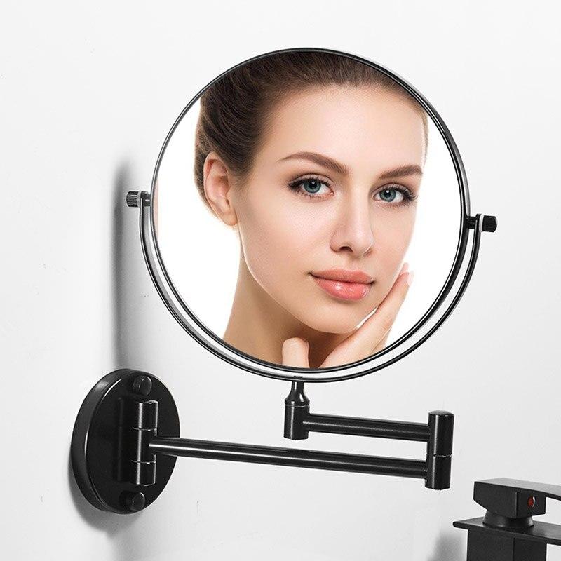 مرآة حمام سوداء مثبتة على الحائط ، 8 بوصات ، تكبير 1X/3X ، مرآة مكياج على الوجهين