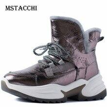 MStacchi Plus Cashmere Snow Boots Women Lace-Up Genuine Leather Buty Damskie Ladies Fashion Keep Warm Fur Stivali Plus Non-slip