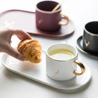 christmas ceramics cup gold rim coffee cups mug and saucers spoon sets with gift box tea soy milk breakfast mugs dessert plate