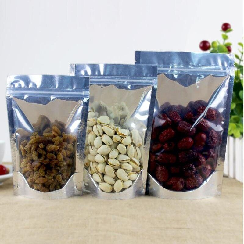 100 unids/set bolsa de pie de papel de aluminio transparente Bolsa con cierre de cremallera bolsa de comida de plástico metálico plateado para alimentos té dulces bolsa de comida