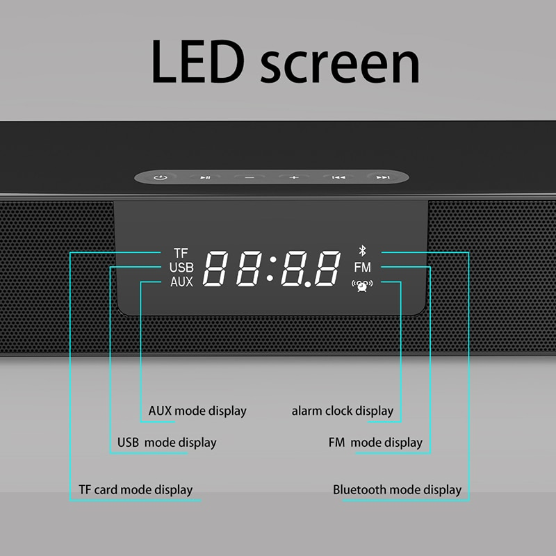 40W Big Power Soundbar Multifunctional Bluetooth Speaker Home Theater Music Center Subwoofer LED Display for TV PC Computer FM enlarge