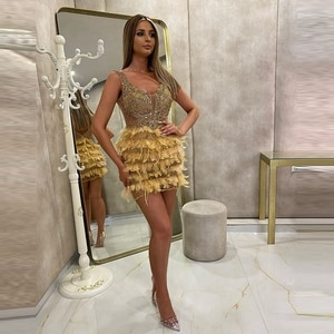 Sexy Feather Short Evening Dress Sequins Sleeveless Beads Crystals Formal Gowns Pageant Women Long Gowns Custom Robe De Soiree