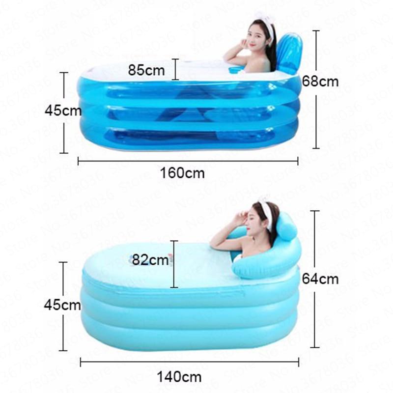Adult Portable Inflatable Bathtub Home Thickening Folding Barrel Children Can Sit Lie Plastic PVC Inflatable Bath Tub Spa 1.6M enlarge