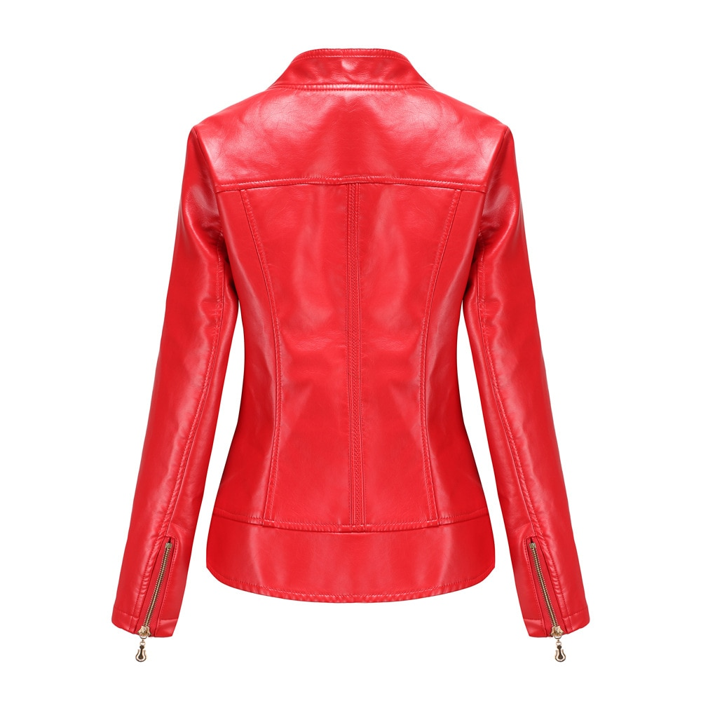 Women's PU Leather Thin Spring and Autumn Coat Women's Clip S-4XL Casual Clothing enlarge
