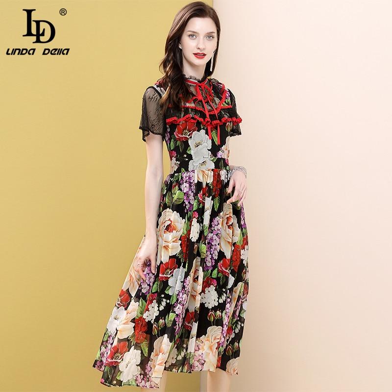 Ld linda della moda verão vestido de pista feminina laço manga laço laço drape multicolorido floral impressão do vintage senhoras midi vestidos
