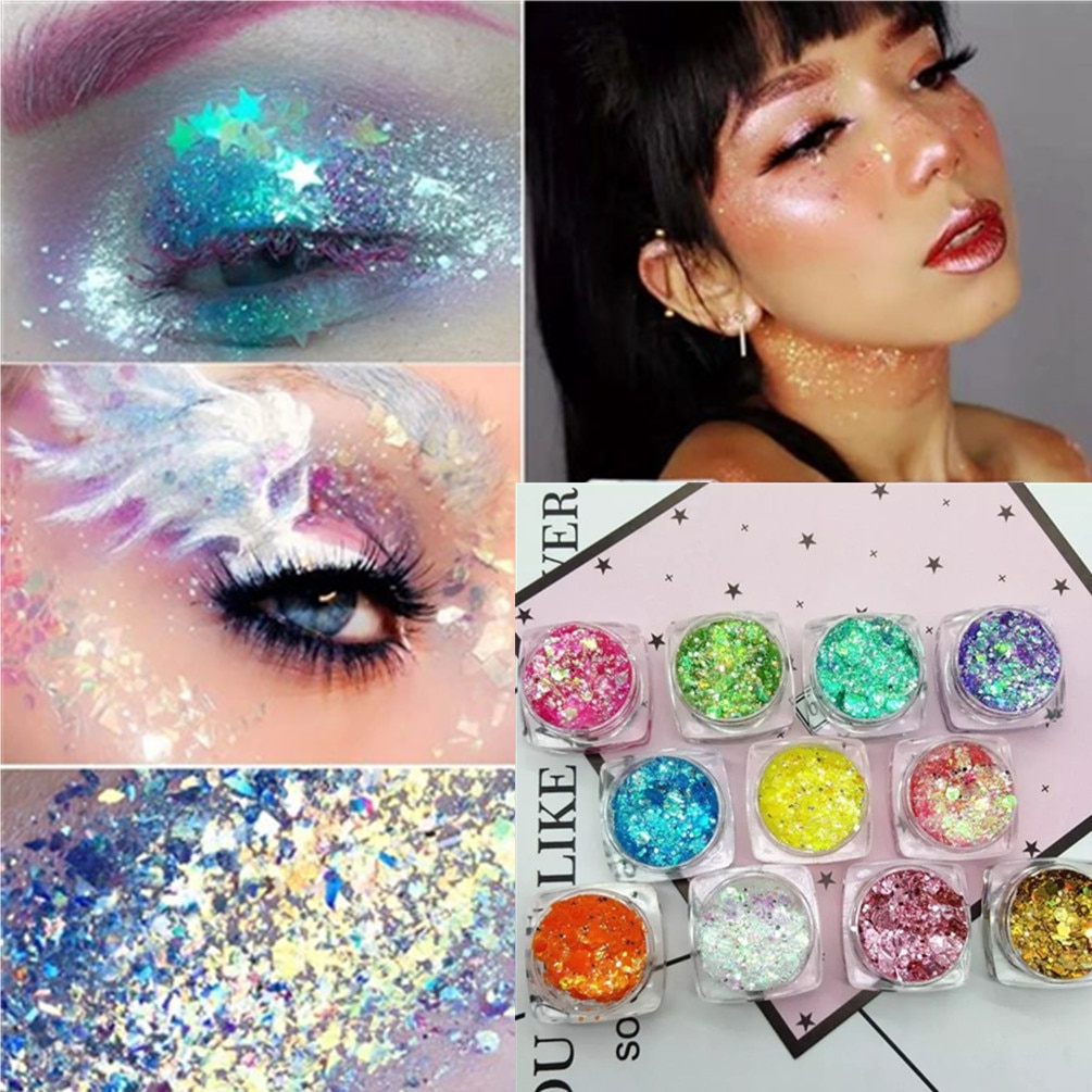 19 Colors Mermaid Sequins Eyeshadow Lasting Nail Lip Body Eye Shadow Glitter Cosmetics Festival Part