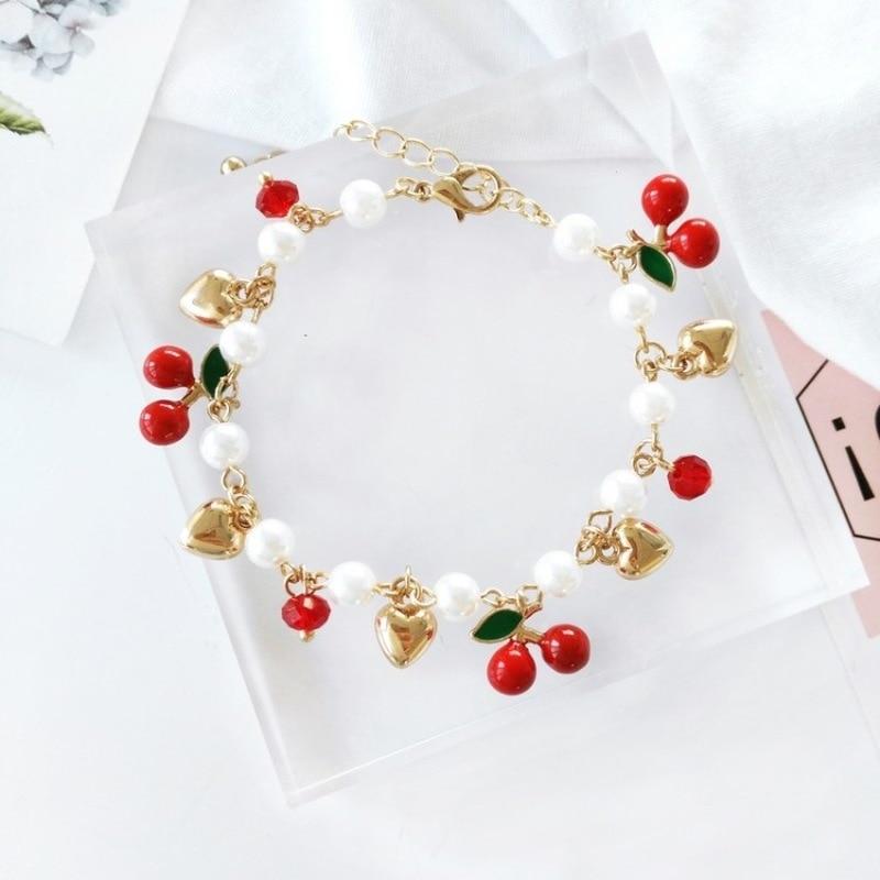 Creativo coreano, bonito, cereza, amor, temperamento, Perla de imitación, pulsera de moda para chica estudiante, joyería, accesorios femeninos