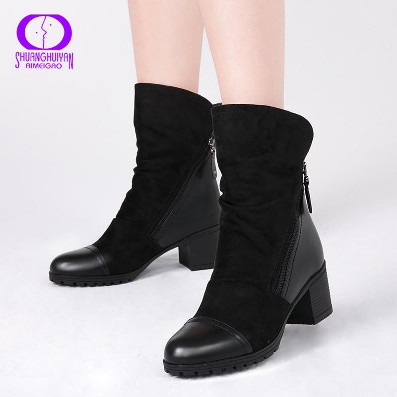 AIMEIGAO 2020 الشتاء الدافئة قطيع حذاء من الجلد النساء قصيرة أفخم عالية الكعب الأحذية الإناث سستة عارضة بولي Round أحذية جولة تو السيدات البريدي