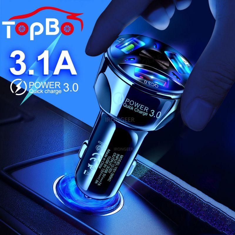 Cargador de coche USB rápido QC3.0 3, adaptador de carga rápida portátil 5V 3A GPS 3 puertos USB, cargador de coche para iPhone Samsung iPad, teléfono móvil