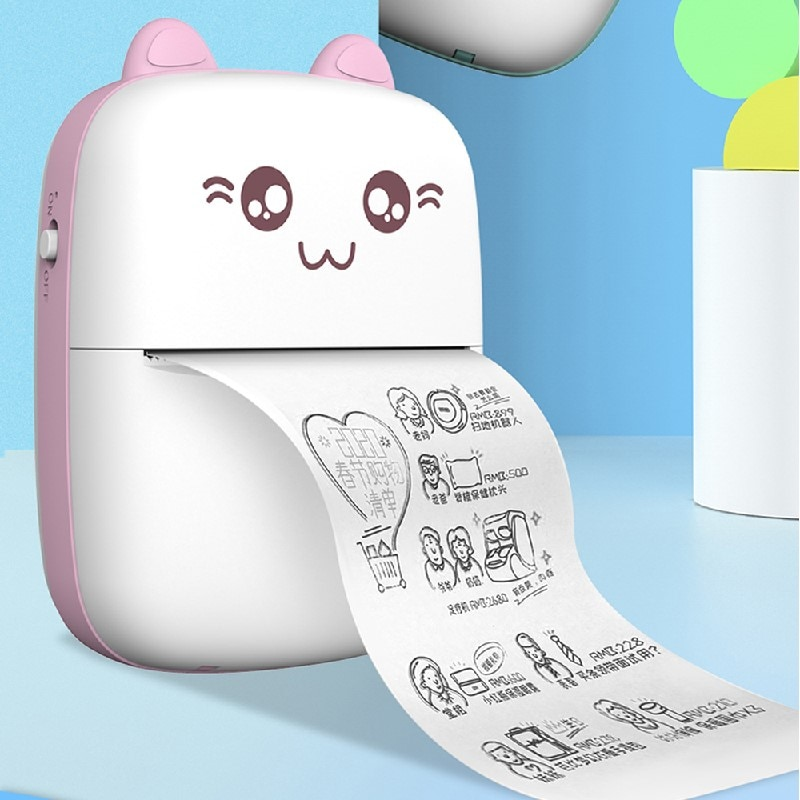Портативный термопринтер, беспроводной мини-принтер для этикеток, Bluetooth-совместимый Карманный фотопринтер для быстрой печати для пользова...