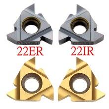 10 pièces 22ER 22IR 22NR 3.5/4.0/4.5/5.0/5.5/6.0/ISO, Inserts de tour de filetage en carbure de tungstène indexables pour porte-tour fileté