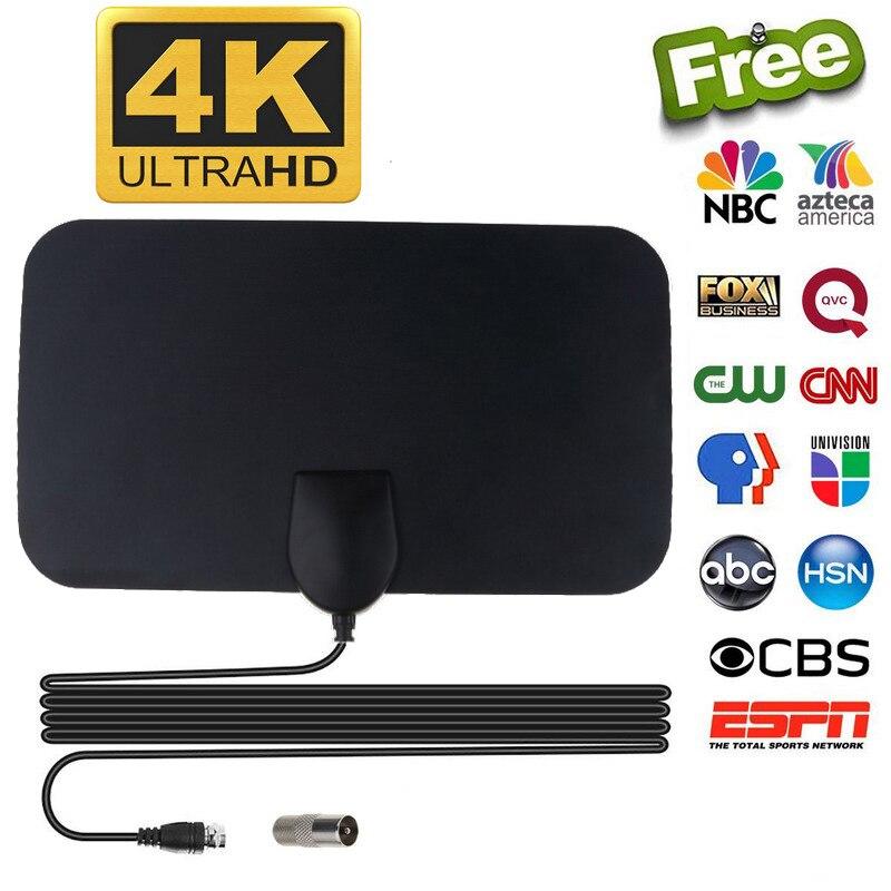 4k 25db alto ganho hd tv dtv caixa digital tv antena ue plug 50 milhas impulsionador ativo antena interior hd design plano em estoque
