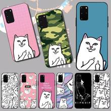 Penghuwan ripndip gato dedo médio gato macio preto caso de telefone para samsung s20 plus ultra s6 s7 borda s8 s9 mais s10 5g