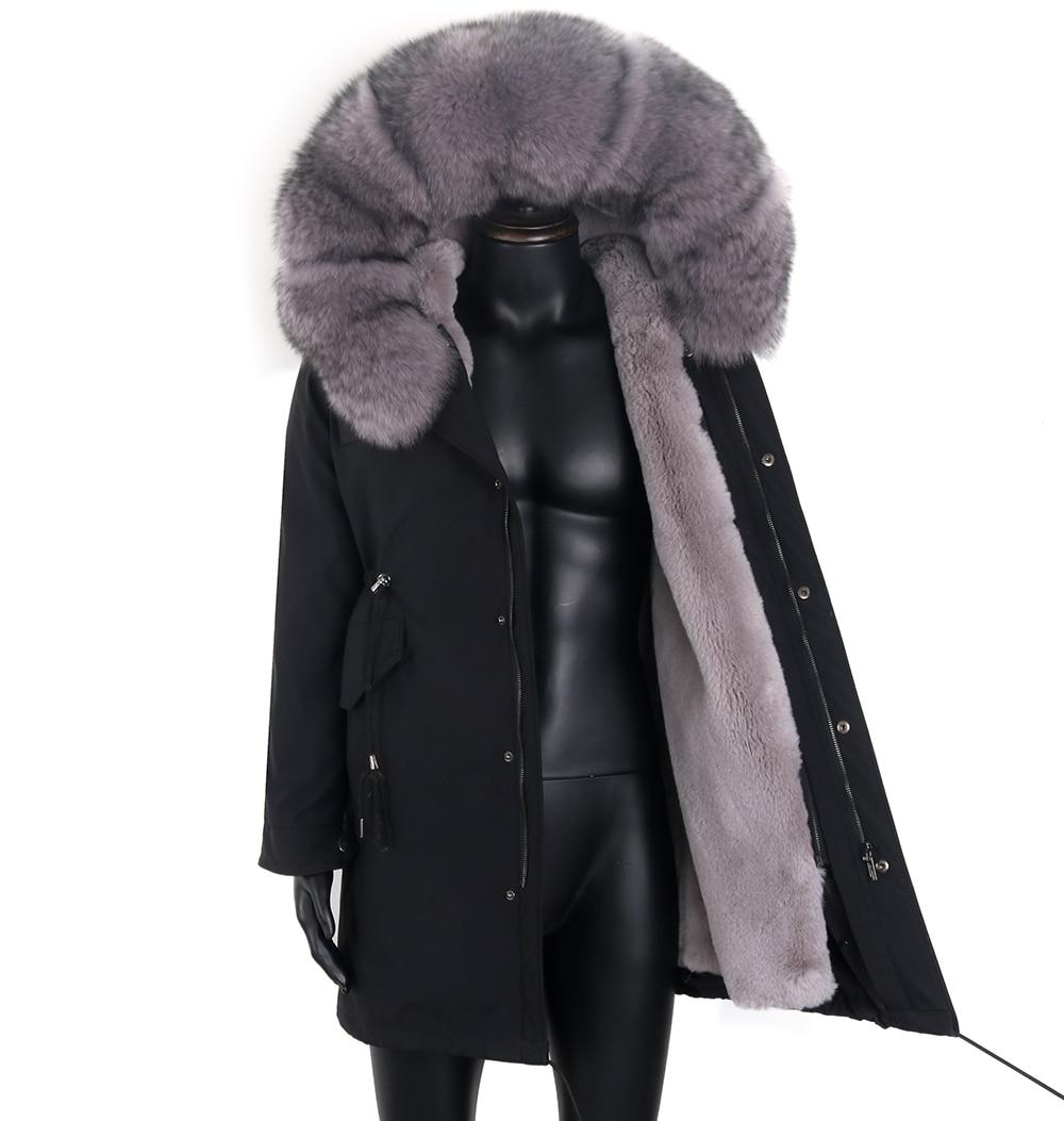 2021 مقاوم للماء سترة طويلة ريال فوكس معطف الفرو ملابس خارجية الشارع الشهير شتاء دافئ سترة الرجال الطبيعية الراكون الفراء طوق